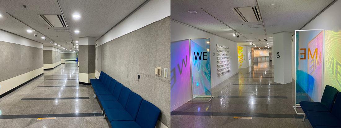 (하단 좌, 우) 교하도서관 지하1층이 아트워크 공간으로 변화하기 전과 후의 모습